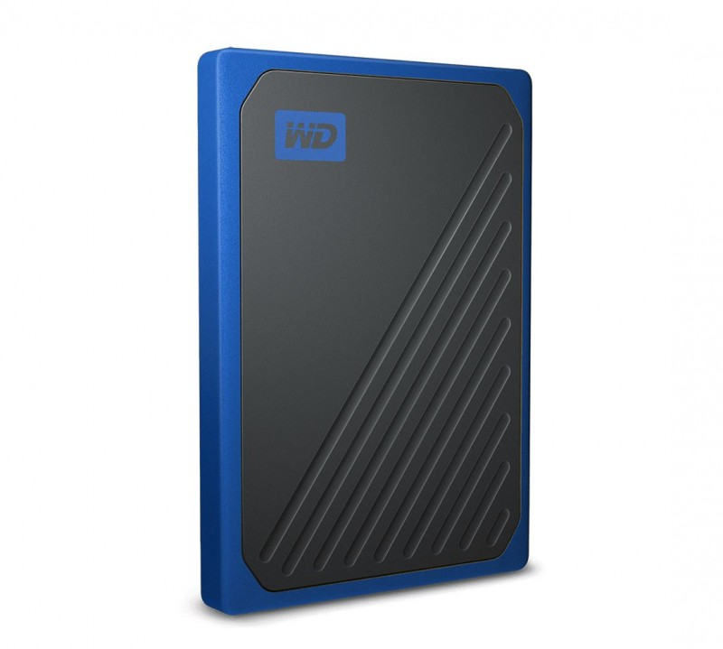 WD My Passport Go 1TB External Portable SSD 400 MB/s USB3.0 Tough Durable Drop Resistant Built-in Cable Cobalt Blue for PC Mac 3yrs