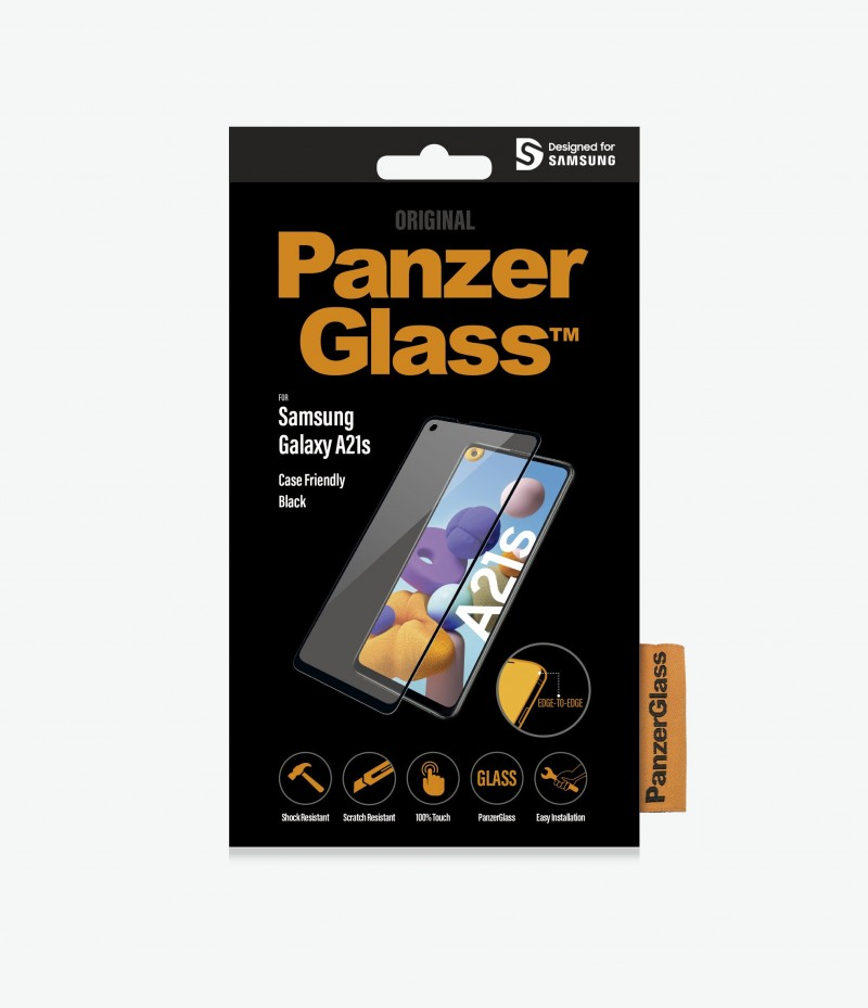 PanzerGlass Entry Level Screen Protector For Samsung Galaxy A21s - Full Frame Coverage, Rounded Edges, Crystal Clear, 100% Touch Preservation